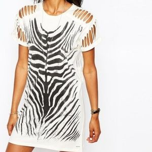 Diesel Laddered Shoulder Zebra Print Dress Sz Smal